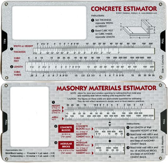 Concrete & Masonry Materials Estimator