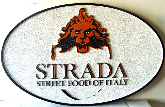 "Q25030 - Sandblasted, Carved HDU Sign for ""Strada Street Food of Italy"" with 3-D Carved Lion Head"
