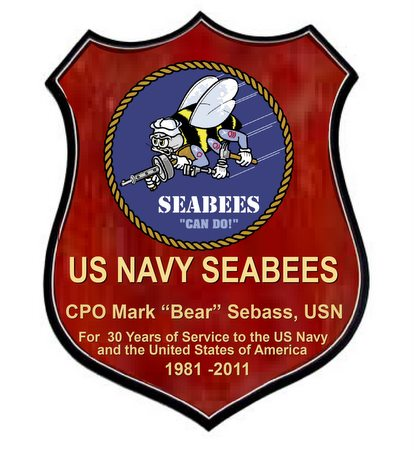 JP-2260 - Carved Shield Plaque of Seabees Logo,  Artist Painted on Mahogany Wood