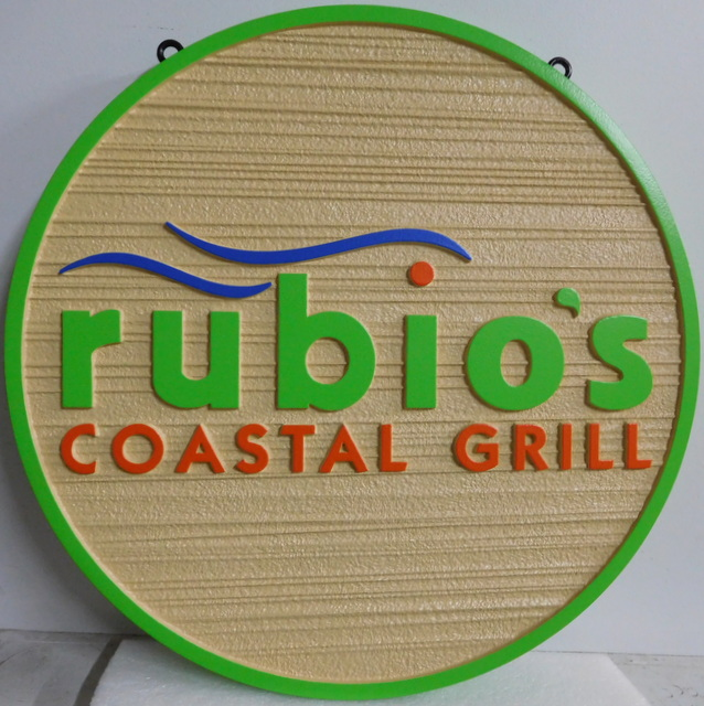 Q25818 - Colorful, Carved, Round, HDU Sign with Wave Logo for Rubio's Coastal Grill Restaurant (See Q-25819 for Rectangular Rubio's Sign)