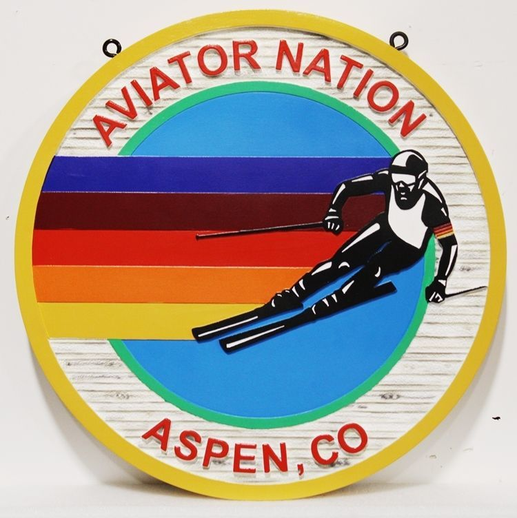 WP-1230 - Carved 2.5-D multi-Level HDU Sign for Logo for Aviator Nation Contemporary Casual Wear