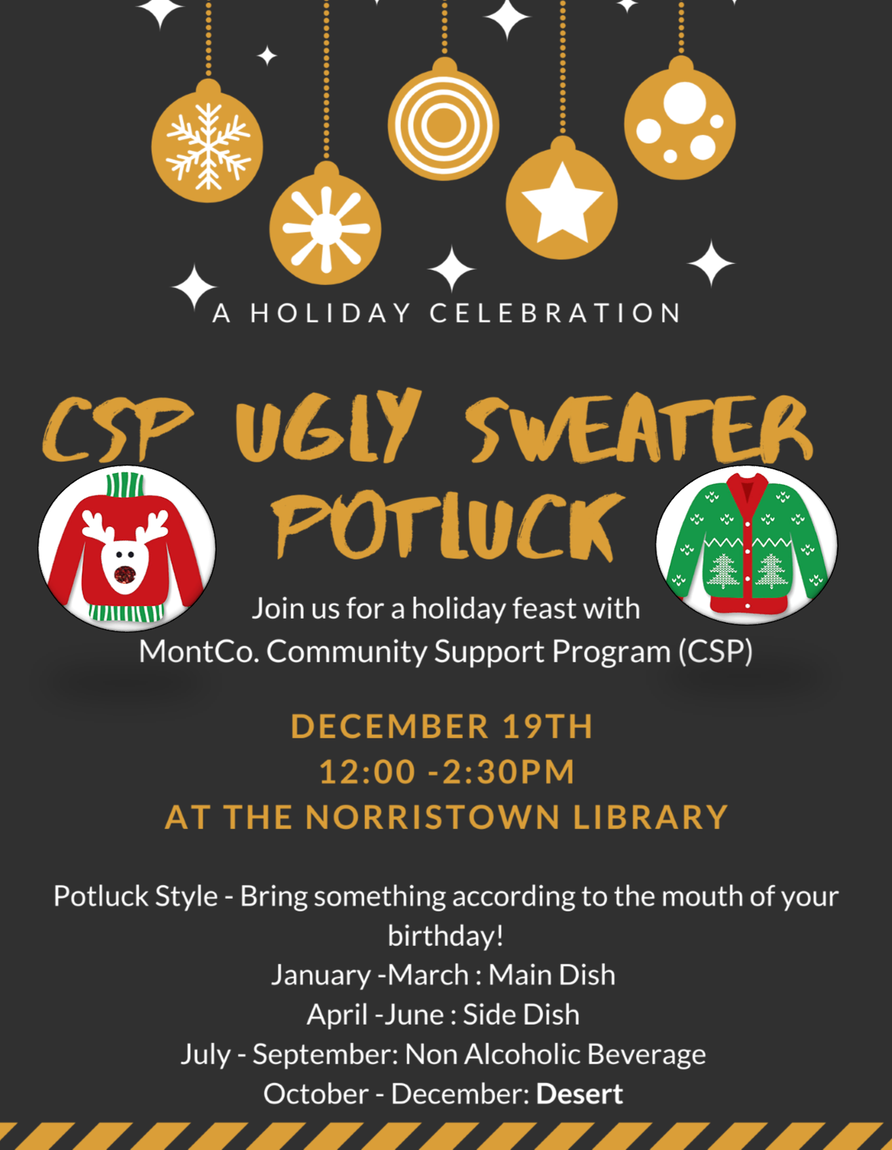 Ugly Sweater Potluck at CSP