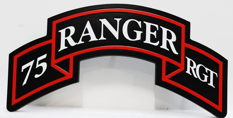 MP-1941 - Carved HDU Wall Plaque of the Insignia of the 75th Ranger Regiment, US Army