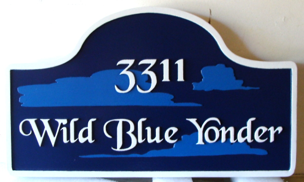 """I18101 - Carved HDU property Name and Address Sign, """"Wild Blue Yonder"""", with Clouds"""
