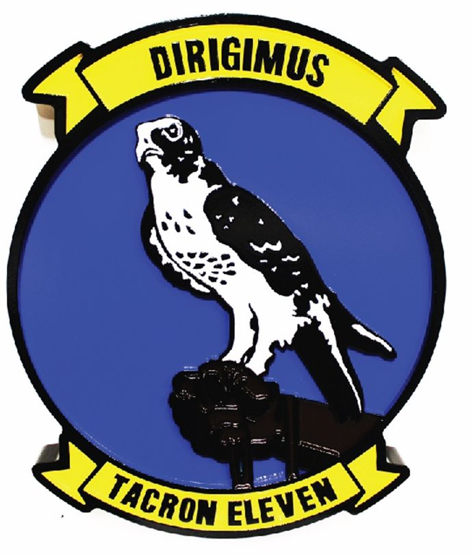 JP-1667 - Caved Plaque of the  US Navy Tacron Eleven Crest, -2.5-D Artist-Painted, with Eagle as Artwork