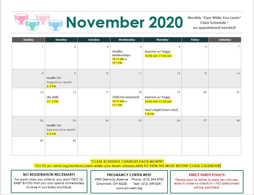 November 2020 Class Schedule