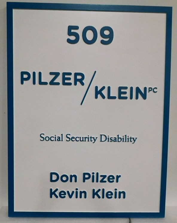 "A10423 - Carved  HDU Sign for ""Pilzer/Klein"" Law Office, 2.5-D,"