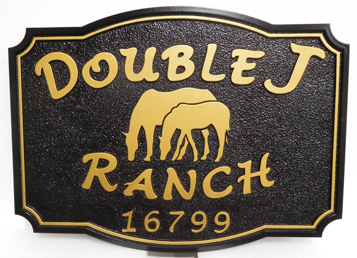 "Q24228 - Carved and Sandblasted 2.5-D Sign for the "" Double J Ranch"", with a Mare and Colt Grazing as Artwork"