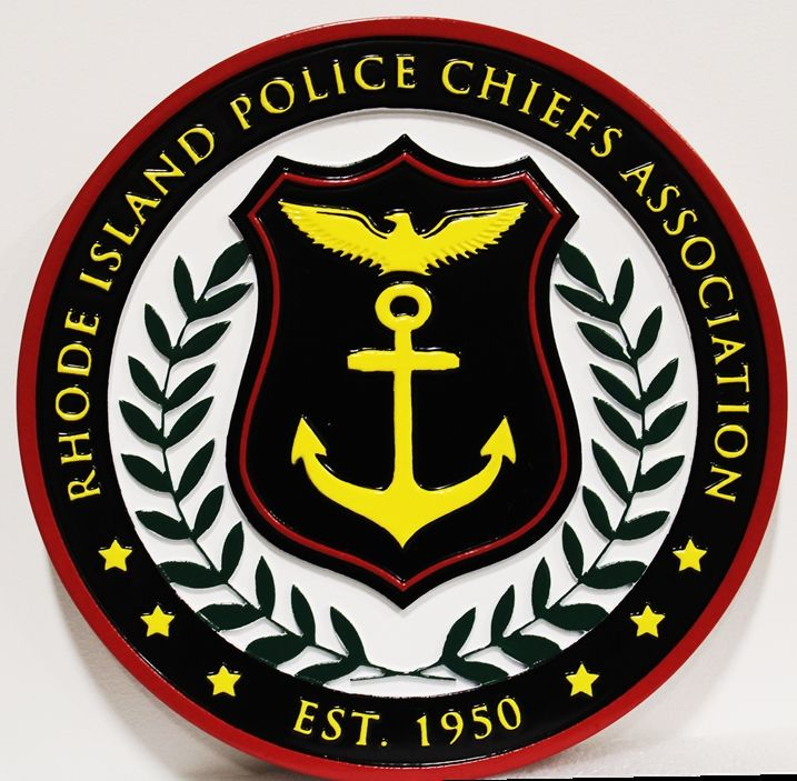 PP-3119 - Carved Plaque of the Seal of the Rhode Island Police Chiefs Association, 2.5-D Artist-Painted