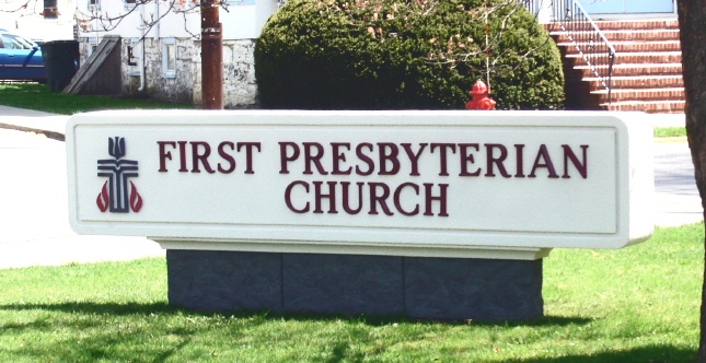D13004 - Rectangular Entrance Monument Sign for Presbyterian Church