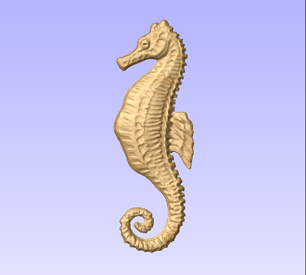 M2998 - Carved Seahorse, painted metallic brass