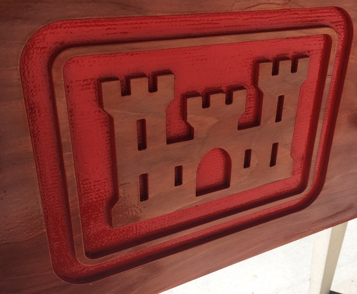 "MP-2730 - Carved Plaque of the Insignia ""The Castle"" of the US Army Corps of Engineers (USACE), 2.5D Redwood, Stained and Painted"