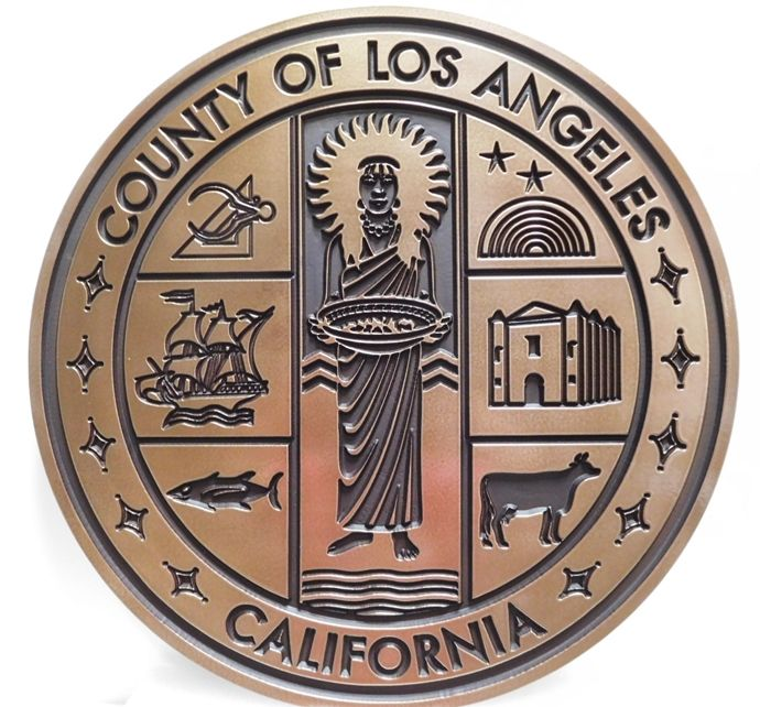 M7052 -  Engraved  Bronze-plated Plaque of the Seal of the County of Los Angeles