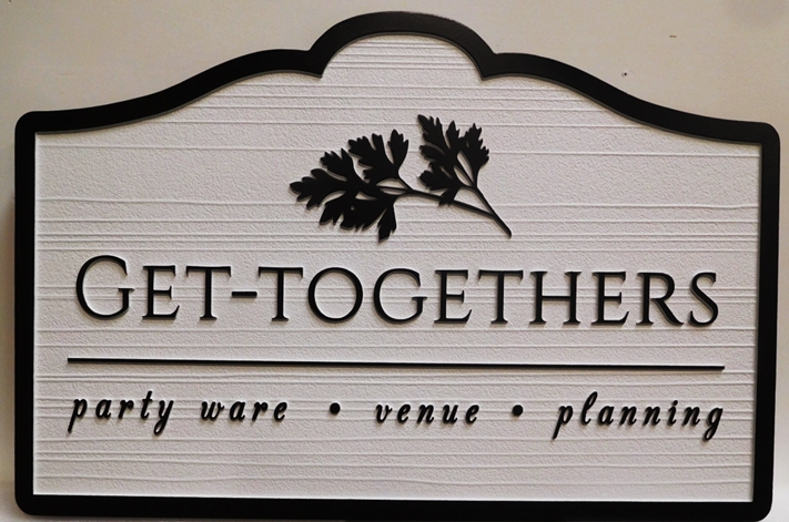 "S28120 - Carved and Sandblasted Wood Grain  HDU Commercial Sign  for the ""Get-Togethers "" Company,  2.5-D Artist-Painted"