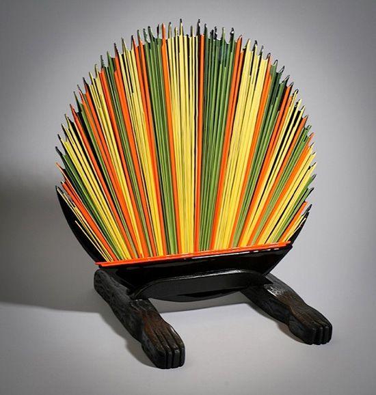 Rainbow Porcupine, fused glass