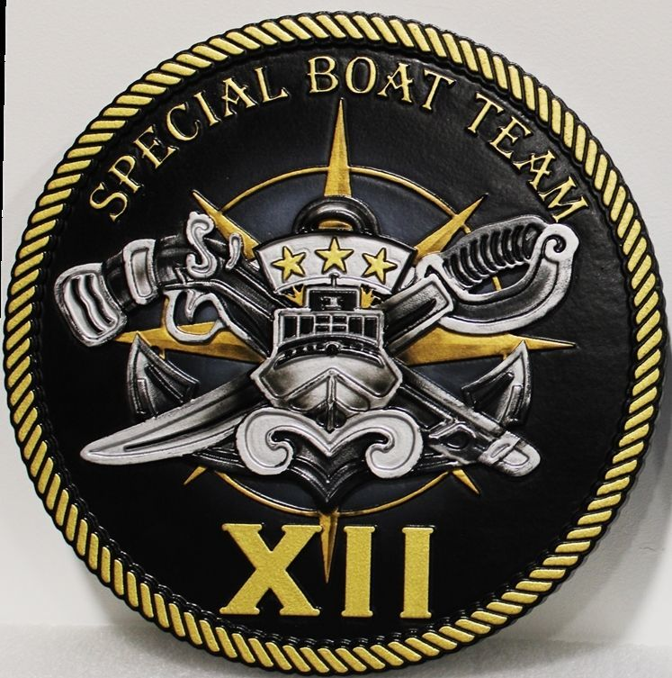 JP-1830 - Carved 2.5-D multi-Level HDU Plaque of the Crest for Special Boat Team XII