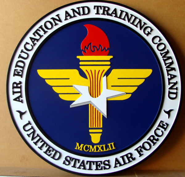 LP-1740 - Carved  Plaque of the Seal of the Air Education & Training Command, Artist Painted