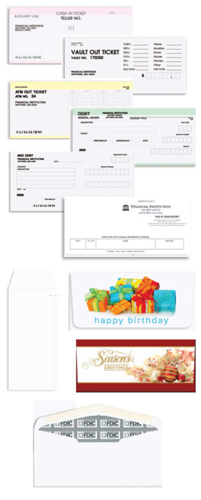 Assortment of Bank Forms and Envelopes