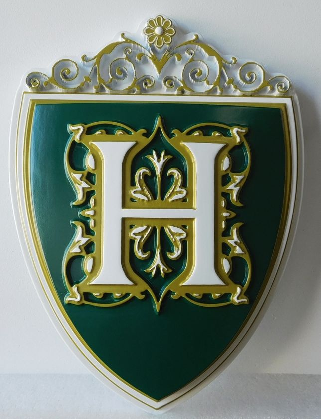 T29024  - Carved 3-D Coat of Arms Logo Wall Plaque For Upscale Hotel