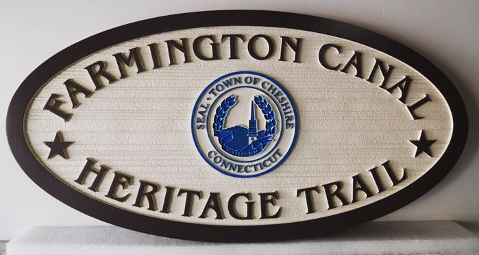 "G16102 - Carved Trail Sign for the ""Farmington Canal Heritage  Trail"" in Cheshire, Connecticut,  with Town Seal"