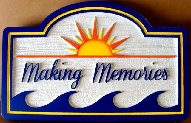 "L21163 - Coastal Residence Name Sign for ""Making Memories  "" with Stylized Sun and Ocean Waves"