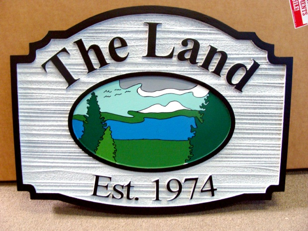 M22328 - Wood Look Sign for Lakeside Residence with Lake and Greenery