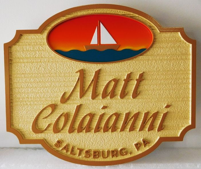L21261 - Carved and Sandblasted  HDU Seaside  Residence Name  Sign, with Stylized Sailboat and Sunset as Artwork