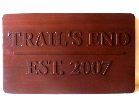 "M22018 - Stained Redwood Name Sign for Cabin & Property ""Trails End"""