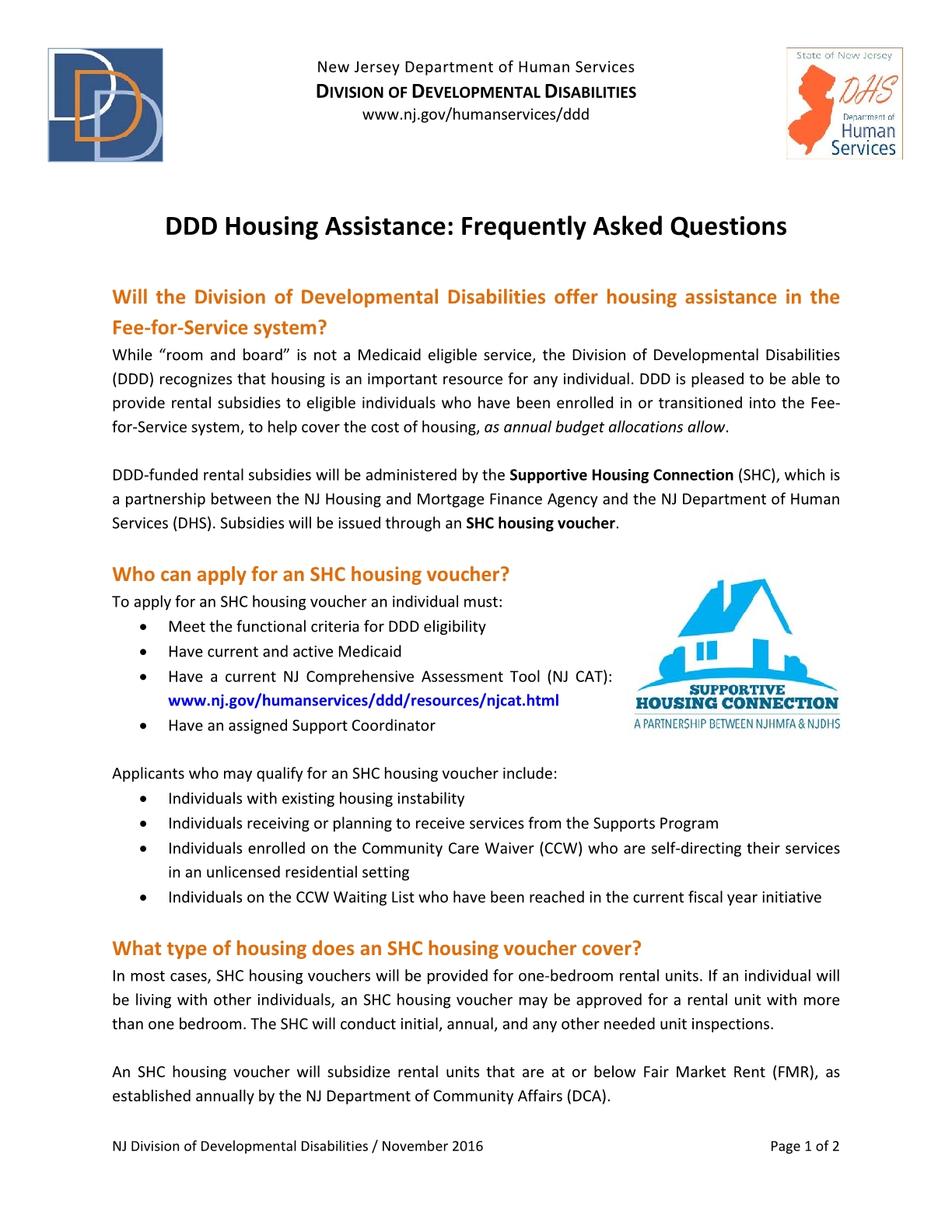 DDD Housing Assistance: Frequently Asked Questions