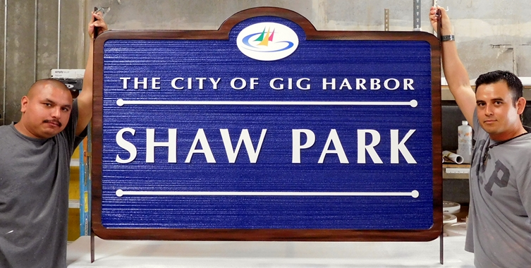 GA16424 - Woodgrain Pattern HDU Sign for City Harbor Park with Sailboat Art