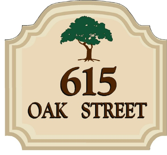 I18329 - Carved Residence Address Sign with Oak Tree