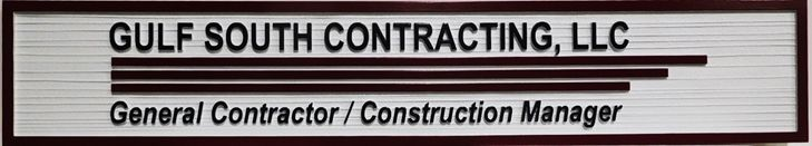 S28154- Carved and Sandblasted Wood Grain Sign for Gulf South Contracting, LLC , 2.5-D Artist-Painted
