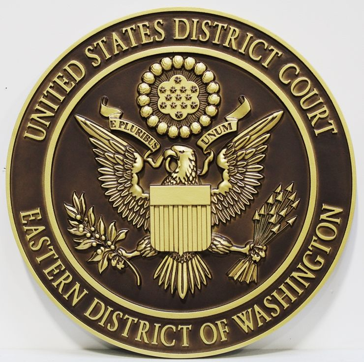 FP-1370 - Carved Plaque of the  Seal of the US District Court, Eastern District of Washington,3-D Brass-Plated
