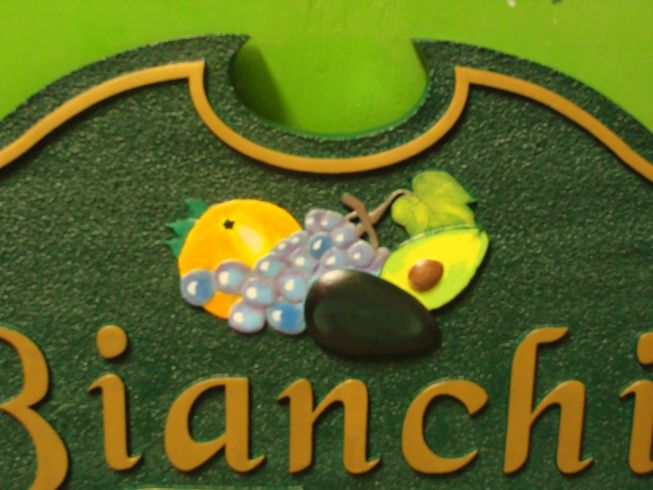 O24703 - Close-Up of Farm Sign with Avocado, Grapes and Orange Long-Lasting Applique