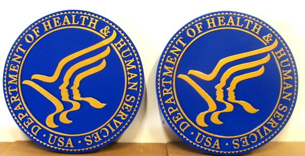 U30230A - Carved 2.5-D HDU Wall Plaques of the Seal of the Department of Health and Human Services