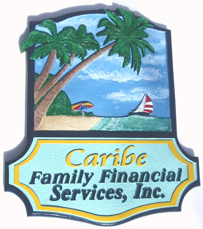 "L21118 - ""Caribe"" Business Sign with Carved, Hand-Painted Palm Trees, Sailboat, Beach, and  Umbrella"