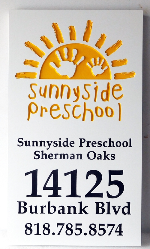 "FA15952 - Carved  Address Sign ""Sunnyside Preschool"", 2,5-D Engraved with Sun Logo as Artwork"