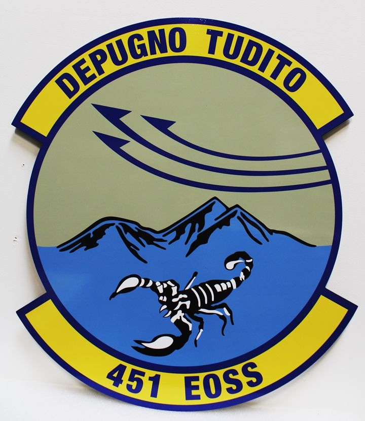 """LP-3952 - Carved Plaque of the Crest of the 451 EOSS """"Depugno Tudito"""", 2.5-D Artist-Painted"""