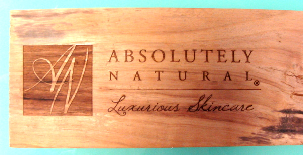 M3220 -  Natural Cedar Wood Plaque with Silk-screened Text and Art, for Point-of-Purchase of Skincare Product (Gallery 28B)