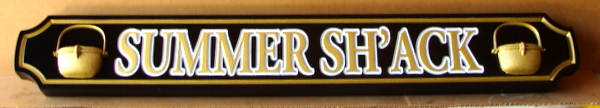 "L21864 - Carved Quarterboard Sign for ""Summer Sh'ack"", with Raised Outlined Text and 3-D Pots"