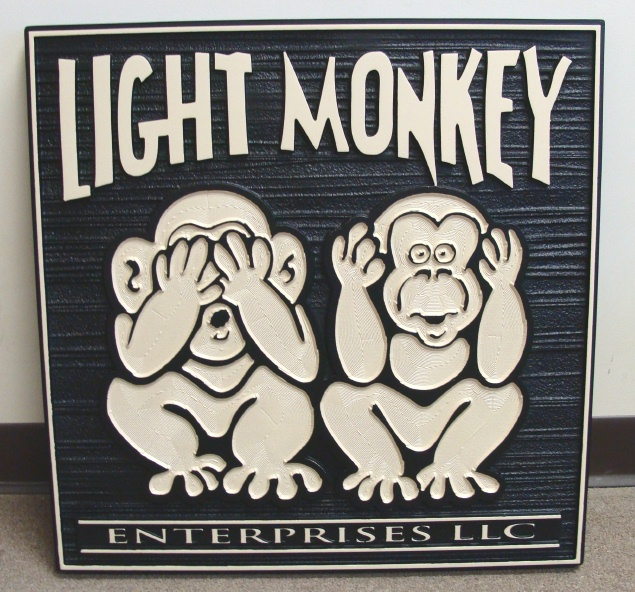 """SA28548 - Business Sign for HDU  Sign for """"Light Monkey  Enterprises, Inc."""", with Two  Monkies"""