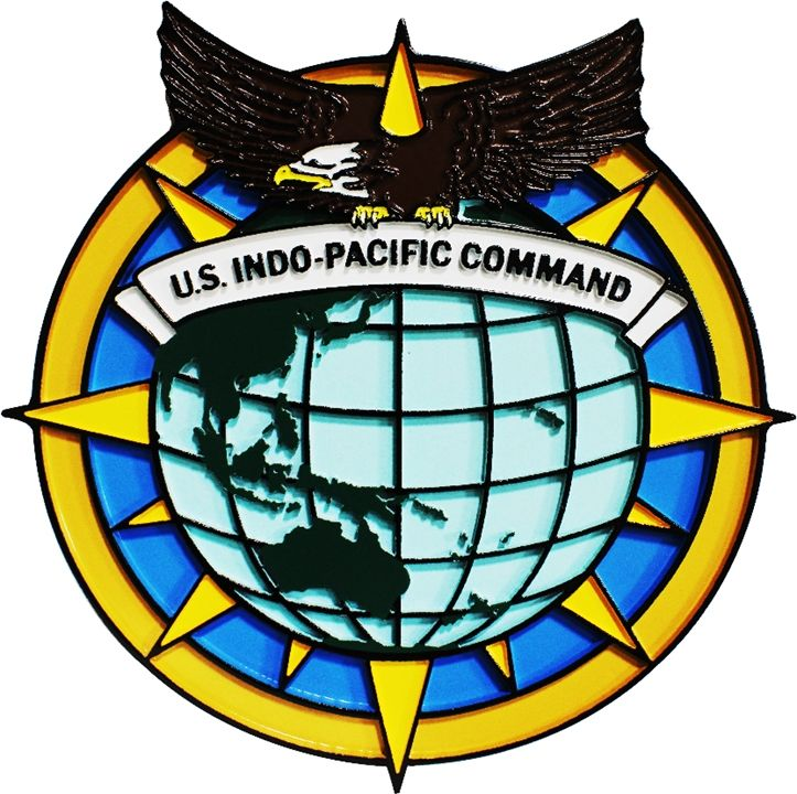 MP-1271 - Carved Plaque of the Seal of the US Army's Indo-Pacific Command , 2,5-D  Artist Painted