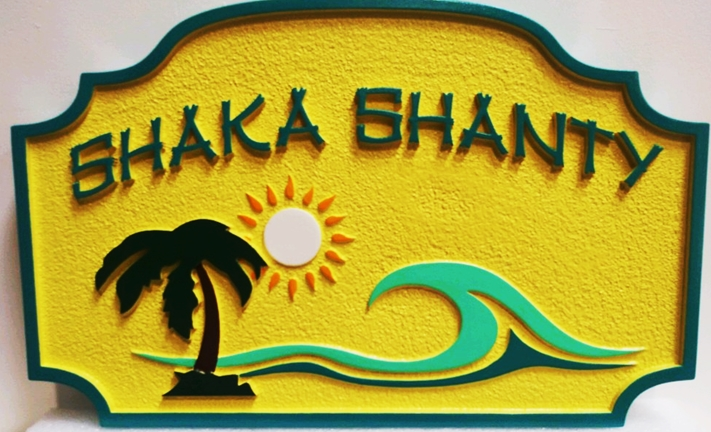 """L21178 - Carved and Sandblasted HDU Beach House NameSign """"ShakaShanty"""", 2.5-D Artist-Painted with Stylized Surf,  Palm Tree and Setting Sun"""
