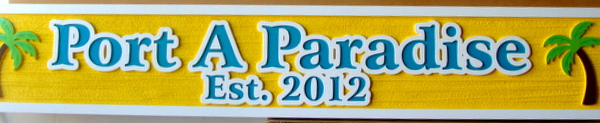 "L21144 - Carved 2.5-D HDU Beach House Sign ""Port a Paradise"", with Outlined Text and Two Palm Trees"