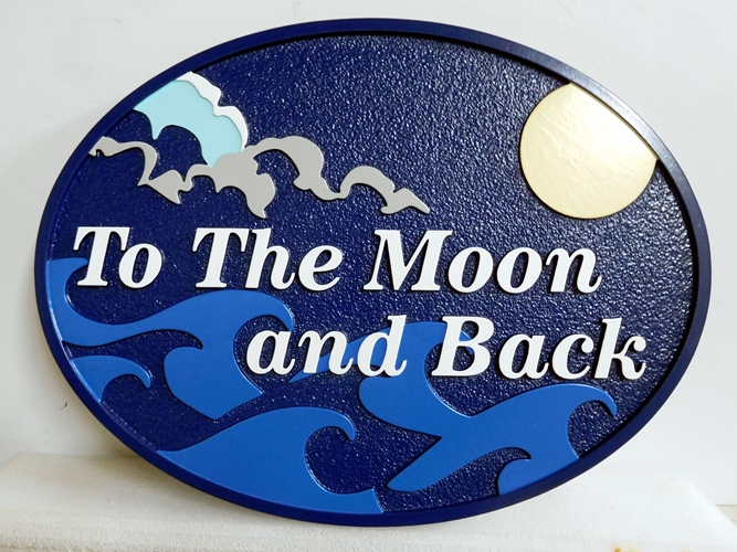 "L21175 -  Carved  Property Name Sign ""To the Moon and Back"", Featuring Night Scene of Ocean, Clouds,  Moon"