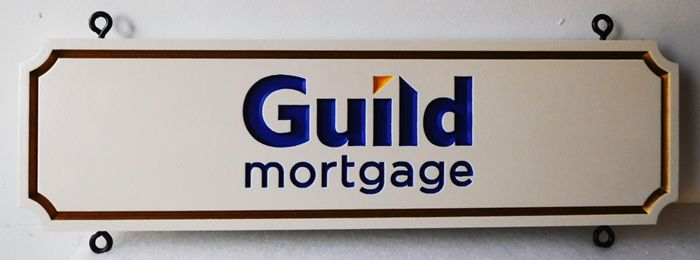 C12224 - Engraved  Guild Mortgage Hanging Sign, with Eyehooks