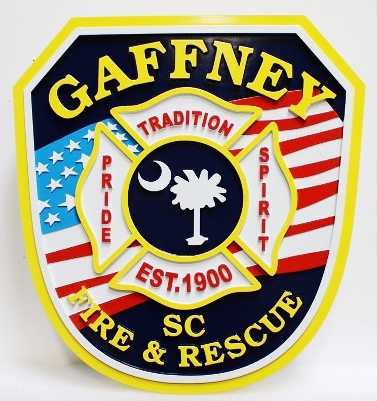 X33879 - Carved 2.5-D HDU Plaque of theShoulder Patch of the Fire & Rescue Department of Gaffney, South Carolina