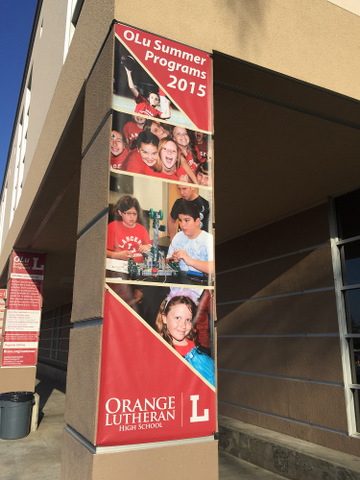 Colorful vinyl pillar banners Orange County
