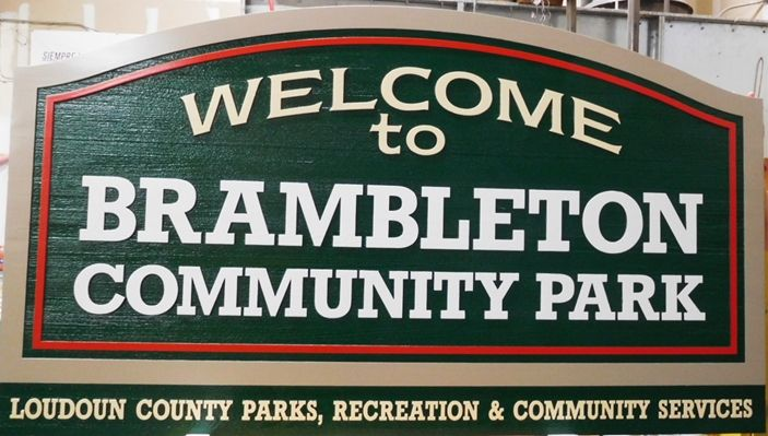 GA16466 -  Large Carved High-Density-Urethane (HDU)  Sign for Brambleton Community Park, in Loudoun County, Virginia