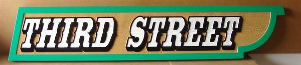 H17139 -  HDU  Street Name Sign, Third Street, 2.5-D Multi-level Outline Relief Text